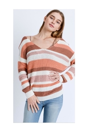 Love Tree Striped Twist-Back Sweater - Front cropped