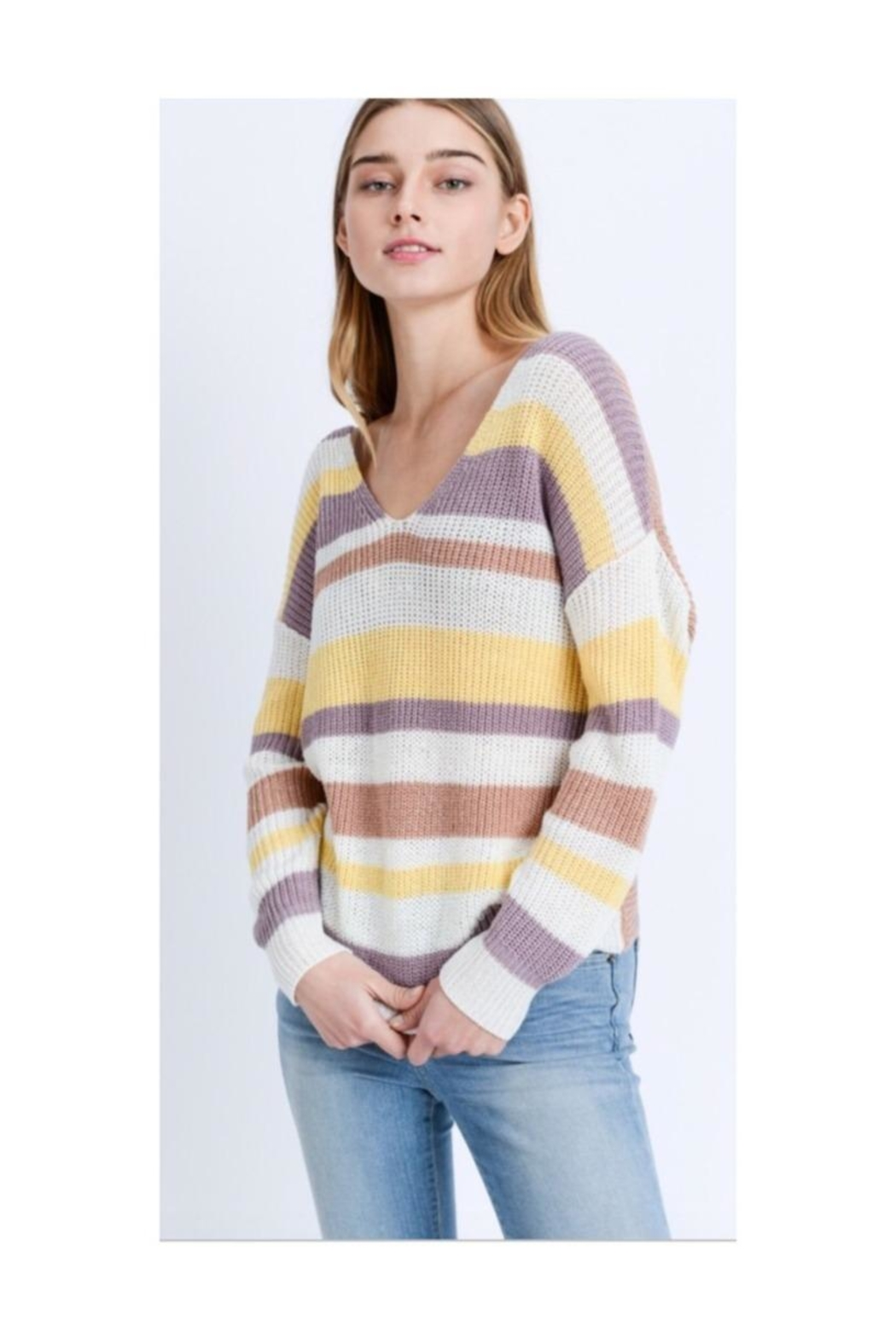 Love Tree Striped Twist-Back Sweater - Front Cropped Image
