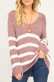 She + Sky Striped V-Neck Sweater - Product Mini Image