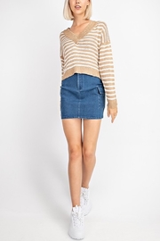 Le Lis Striped V-Neck Sweater - Front cropped