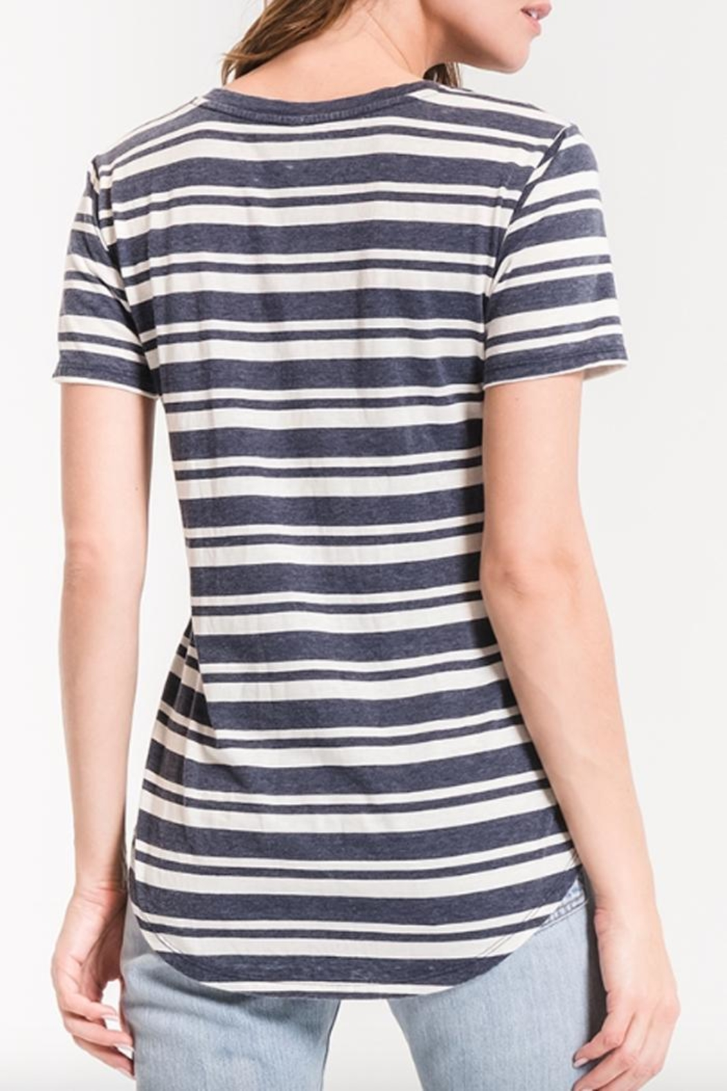 z supply Striped V-Neck Tee - Back Cropped Image