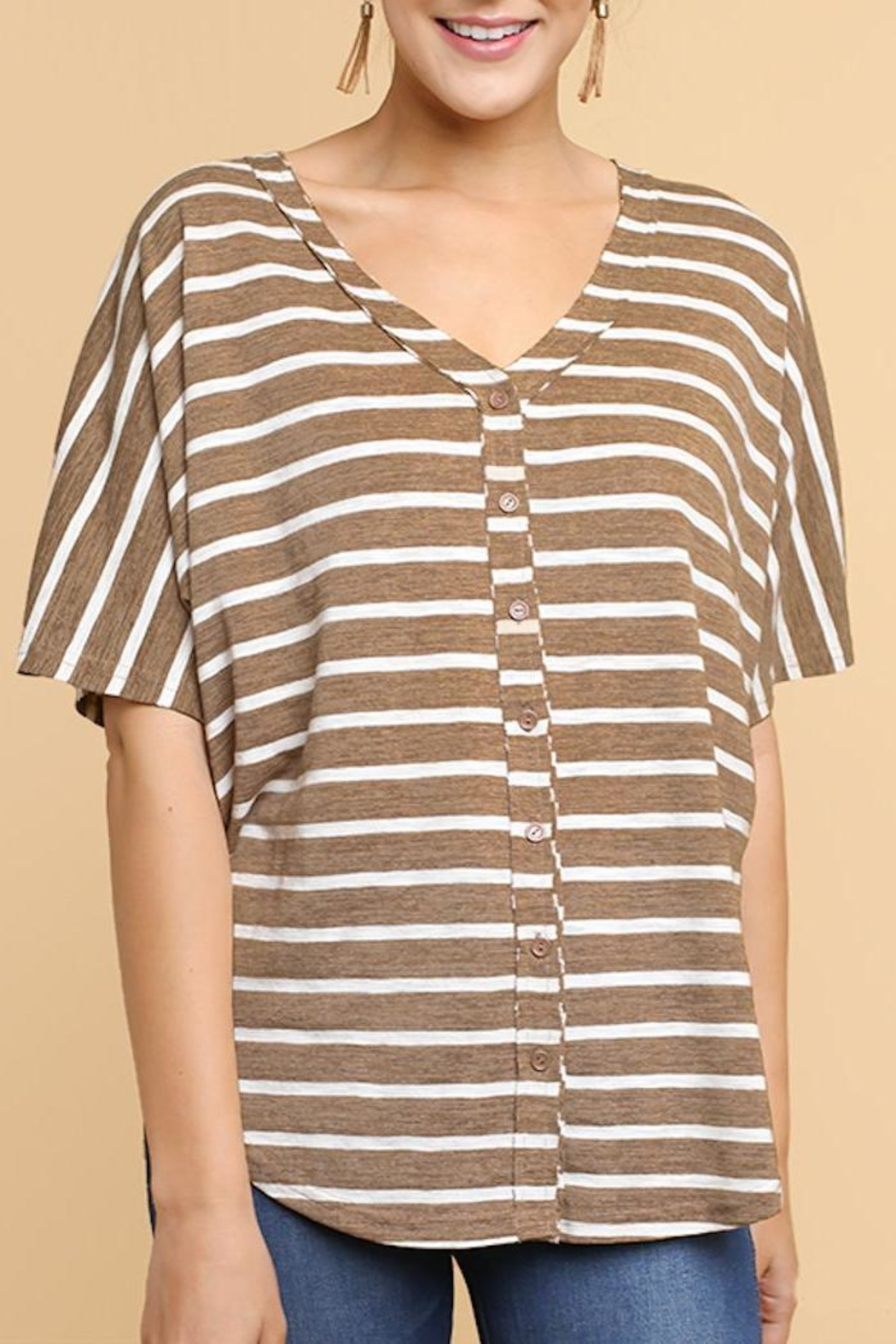 Umgee USA Striped V-Neck Tee - Front Cropped Image