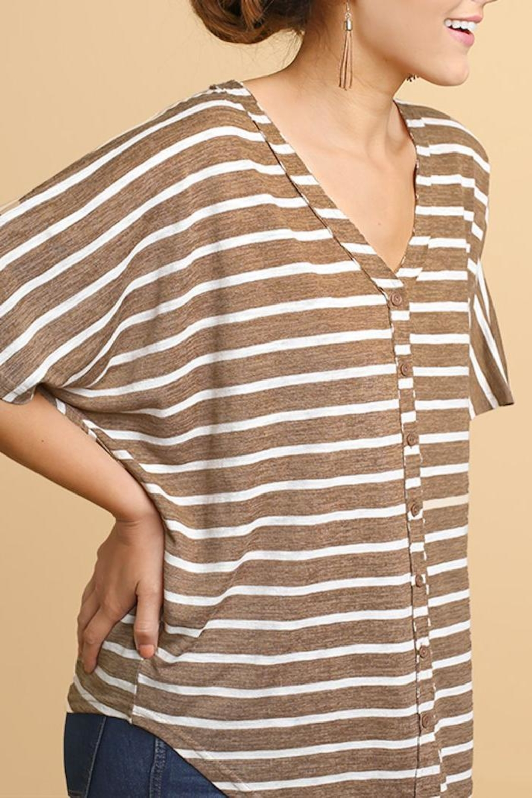 Umgee USA Striped V-Neck Tee - Front Full Image