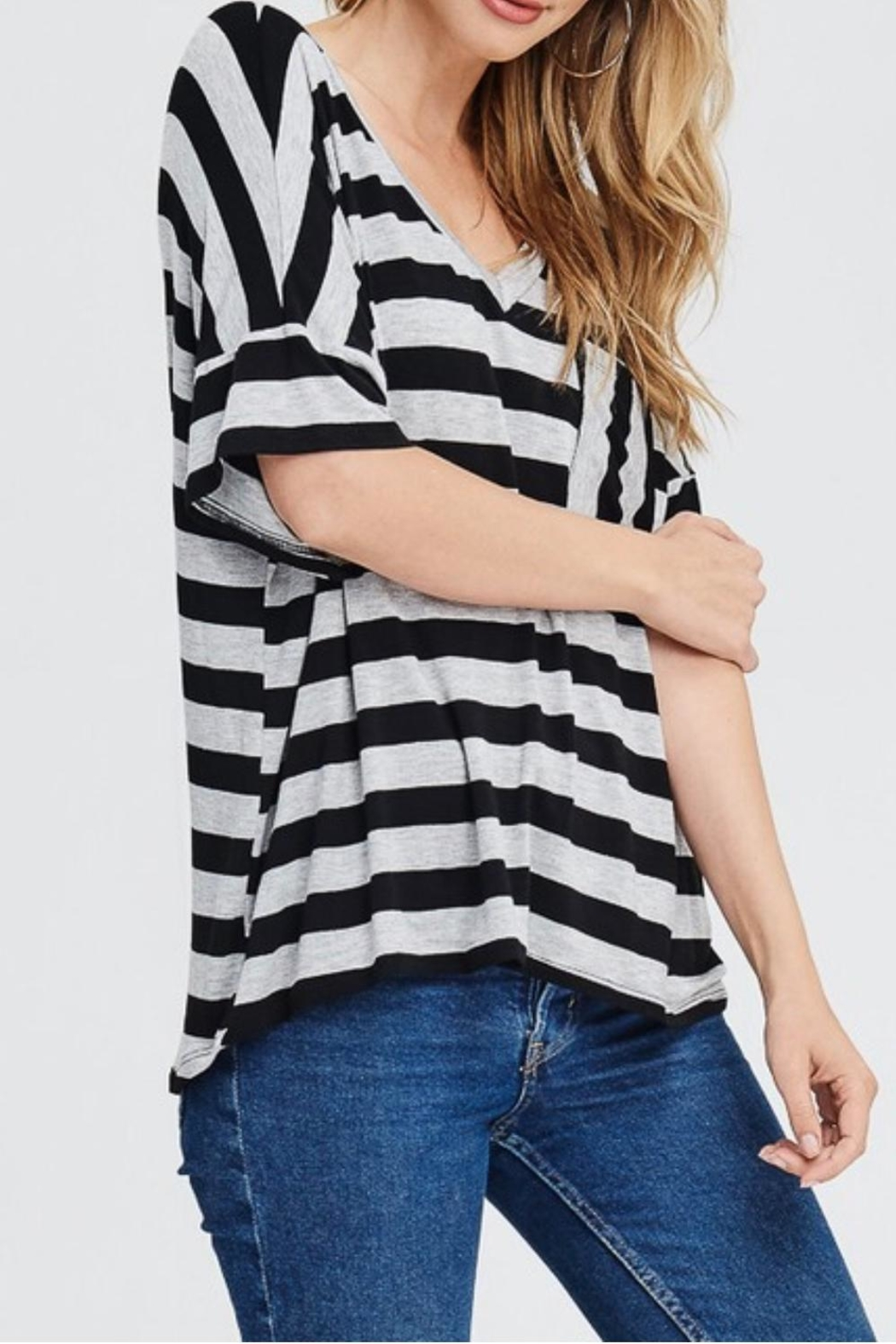 Jolie Striped V-Neck Top - Side Cropped Image
