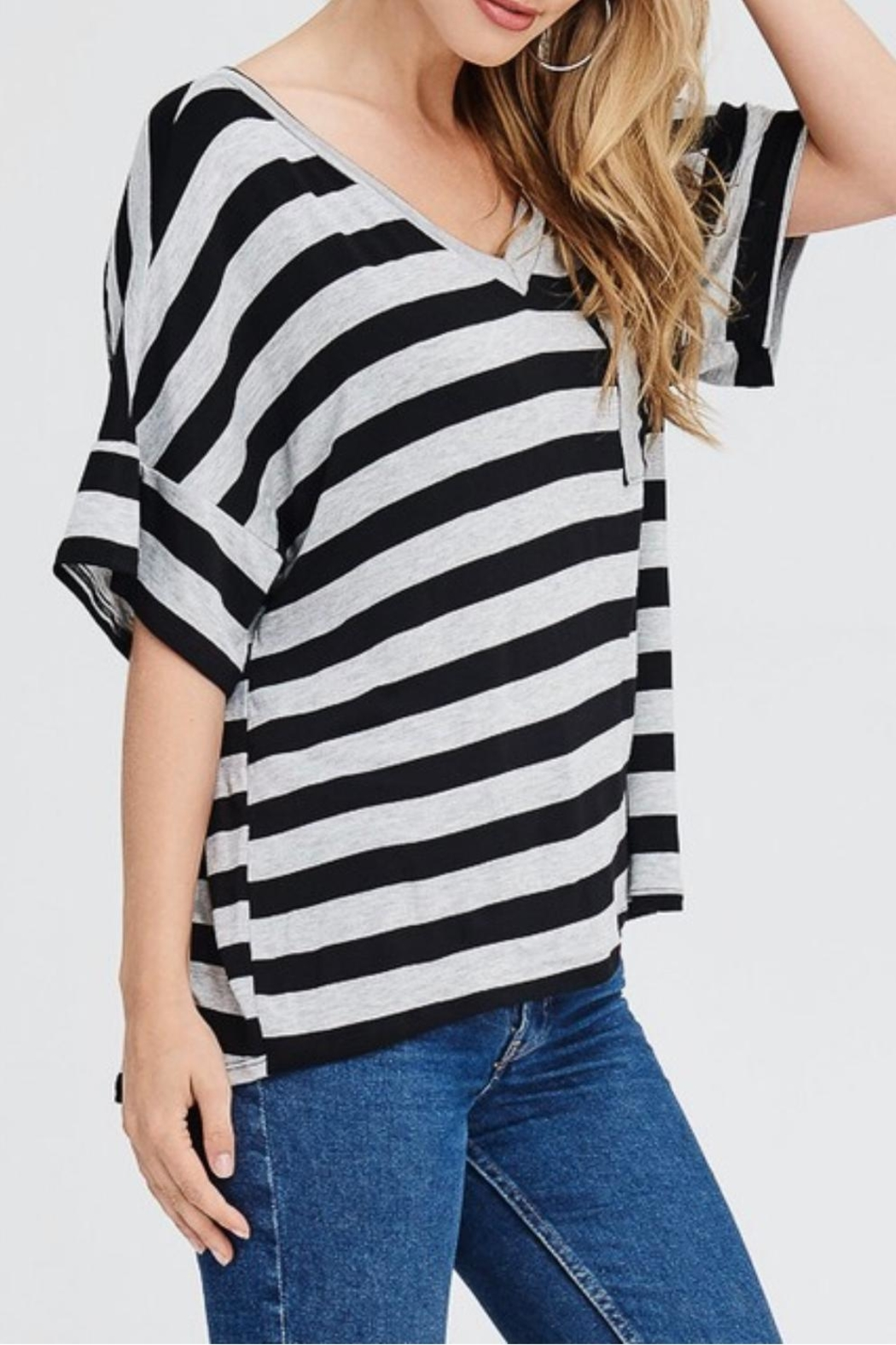 Jolie Striped V-Neck Top - Main Image