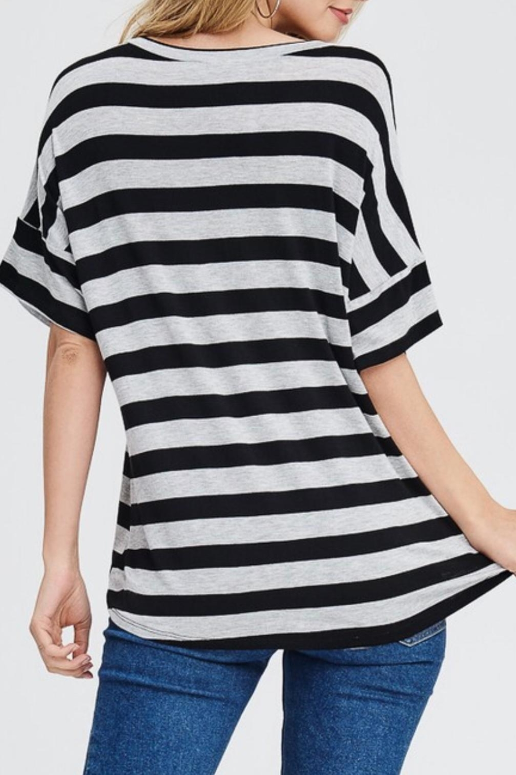 Jolie Striped V-Neck Top - Front Full Image