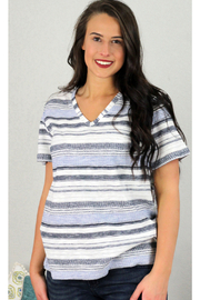 Tribal  Striped V-Neck Top - Product Mini Image