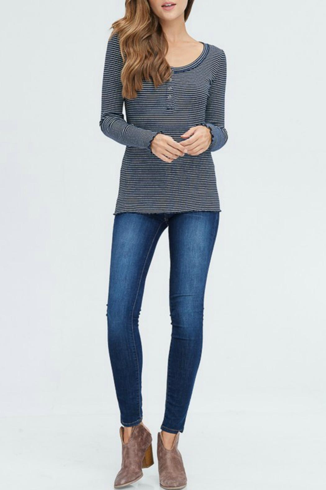 In Loom Striped Waffle Henley - Side Cropped Image