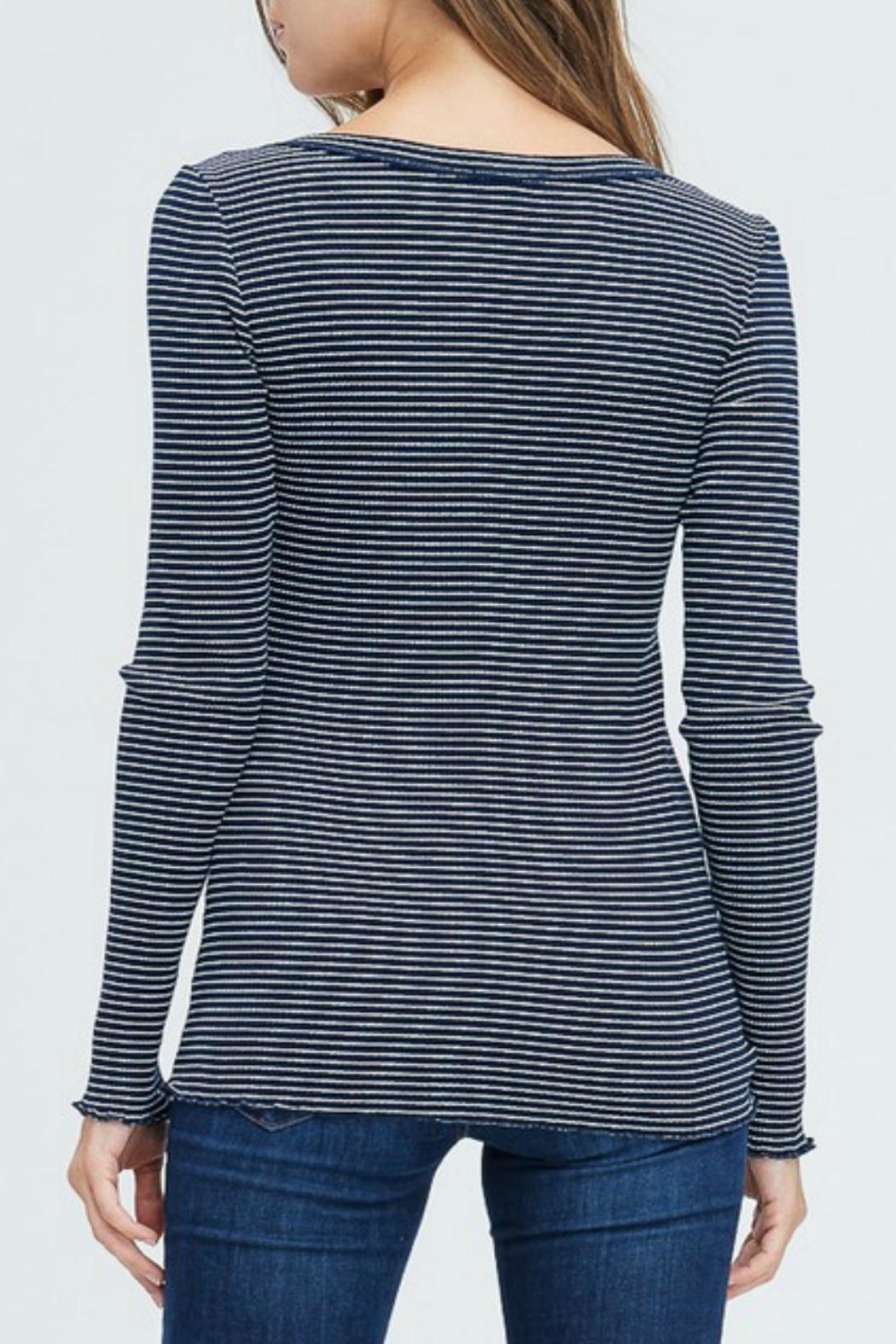 In Loom Striped Waffle Henley - Front Full Image
