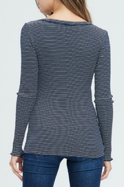 In Loom Striped Waffle Henley - Front full body