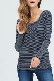 In Loom Striped Waffle Henley - Front cropped
