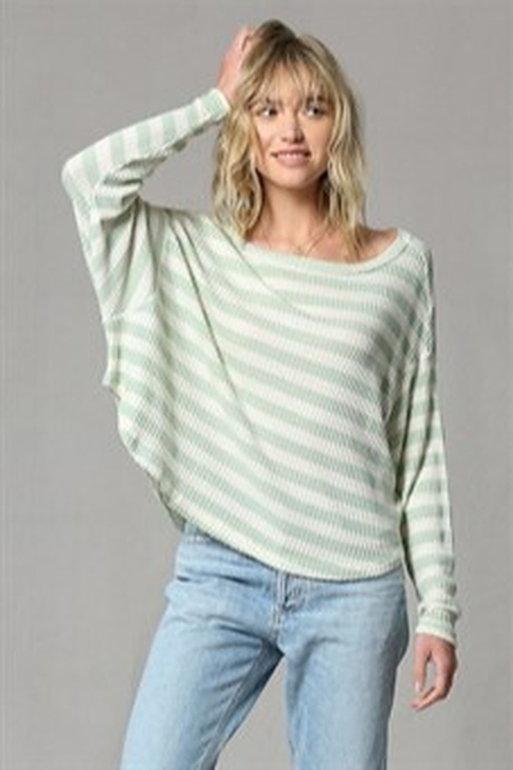 By Together  Striped waffle thermal top - Main Image