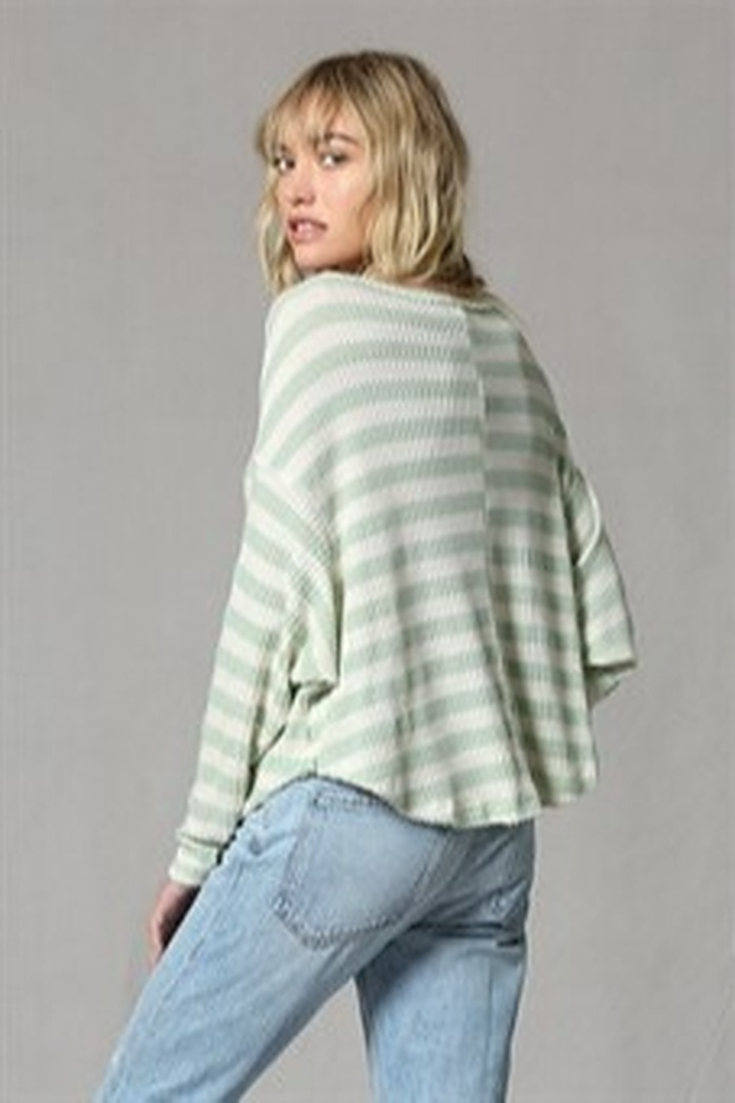 By Together  Striped waffle thermal top - Front Full Image
