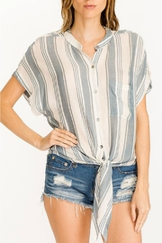 Olivaceous Striped Waist-Tie Top - Product Mini Image