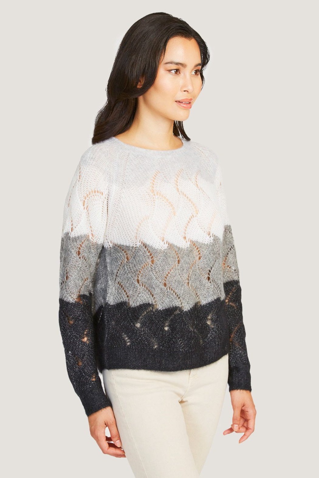 Autumn Cashmere Striped Wave Stitch Sweater - Front Full Image