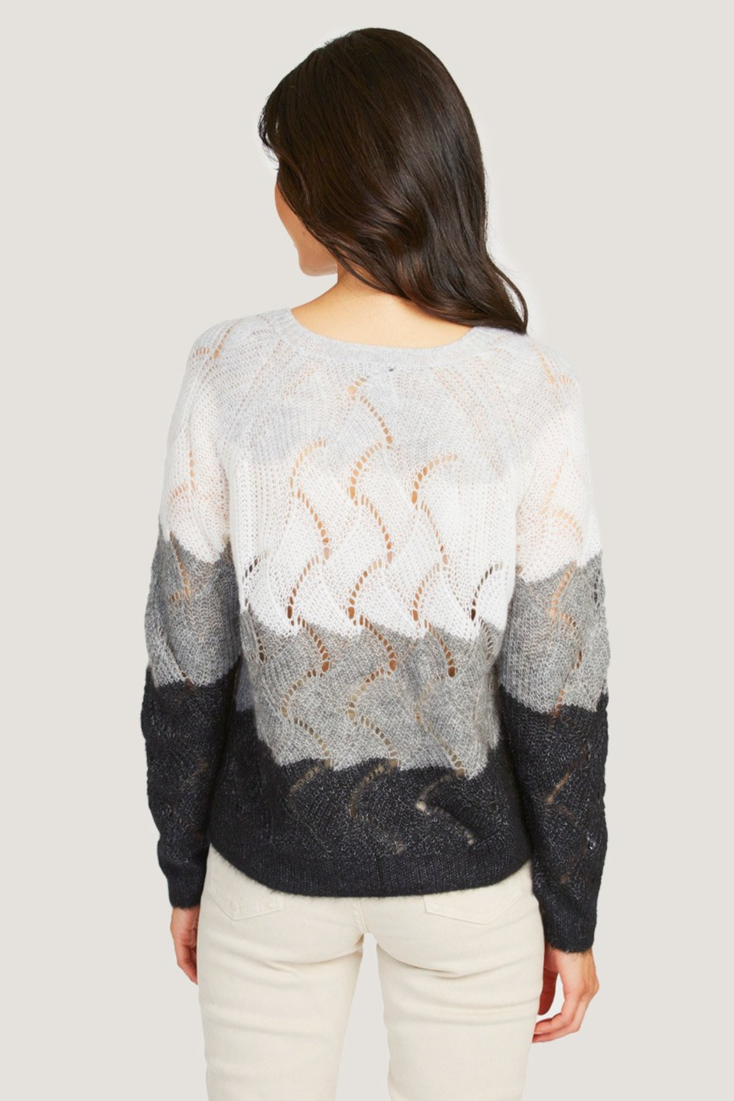 Autumn Cashmere Striped Wave Stitch Sweater - Side Cropped Image