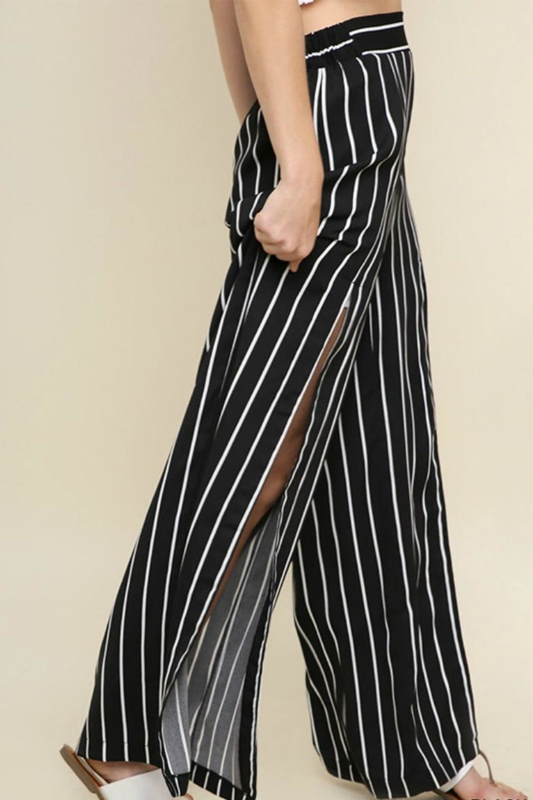 Umgee USA Striped Wide Pant - Front Cropped Image