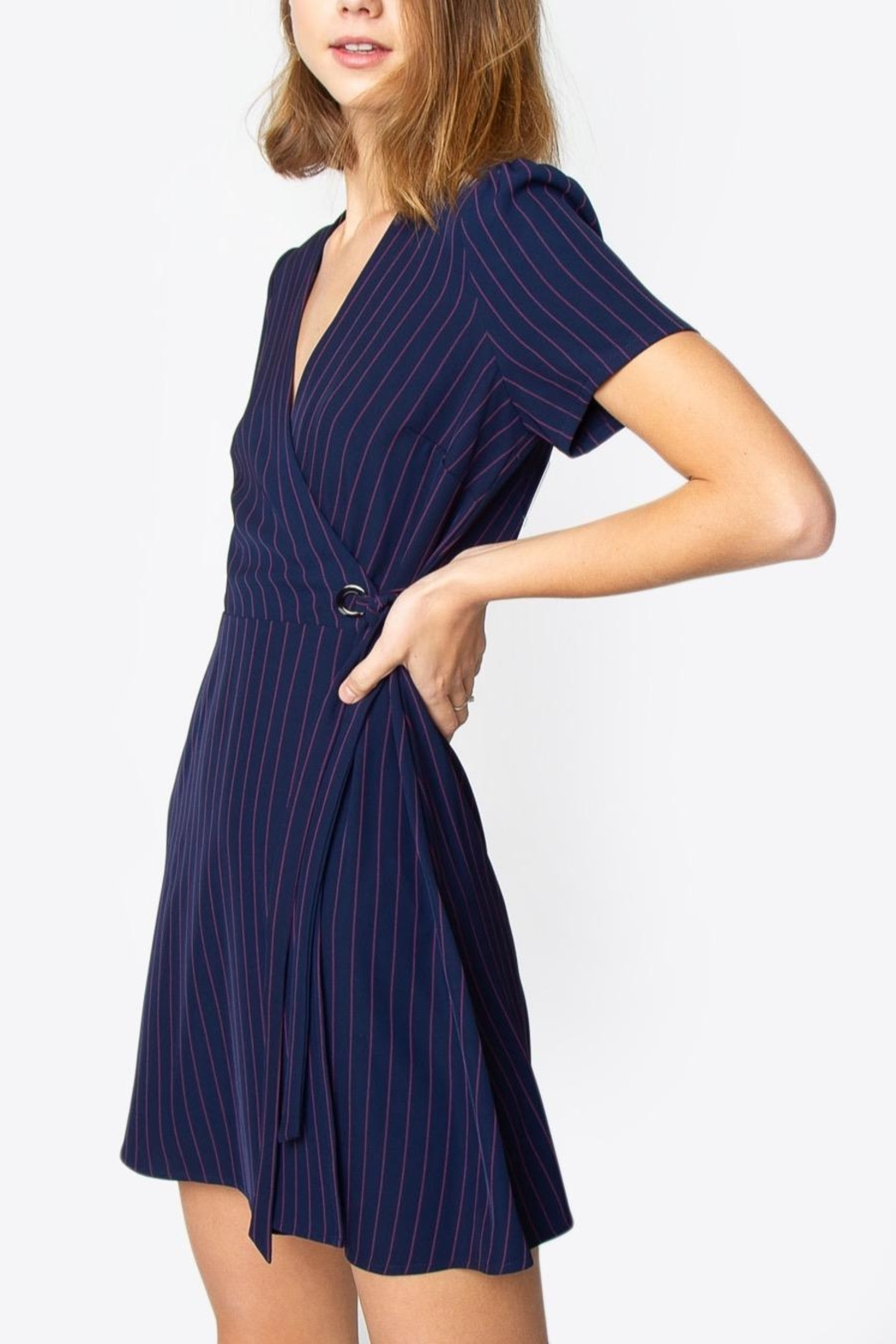Sugarlips Striped Wrap Dress - Side Cropped Image