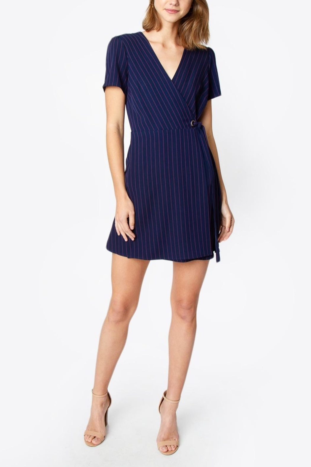 Sugarlips Striped Wrap Dress - Front Full Image