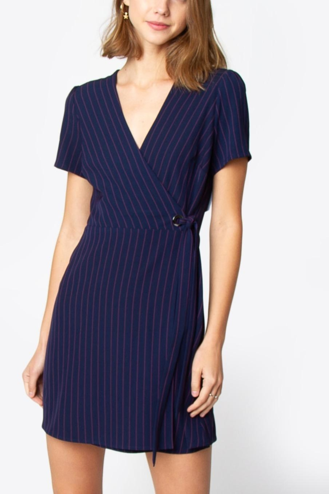 Sugarlips Striped Wrap Dress - Front Cropped Image