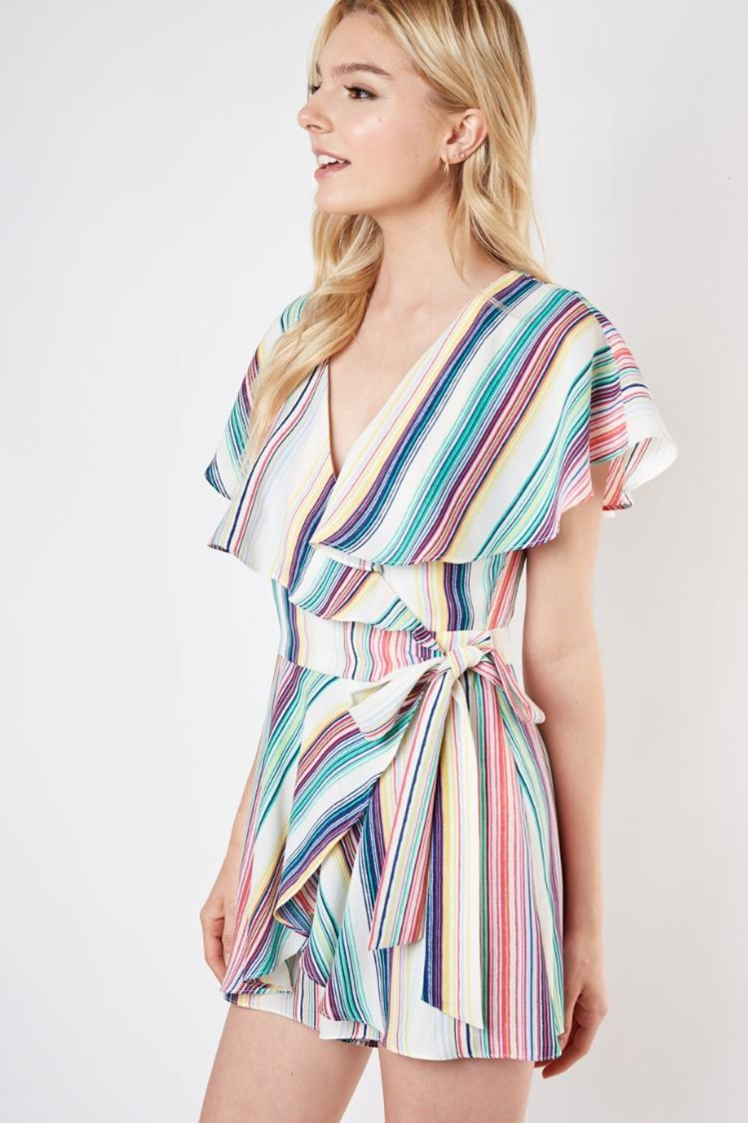 Do & Be Striped Wrap Romper - Front Full Image