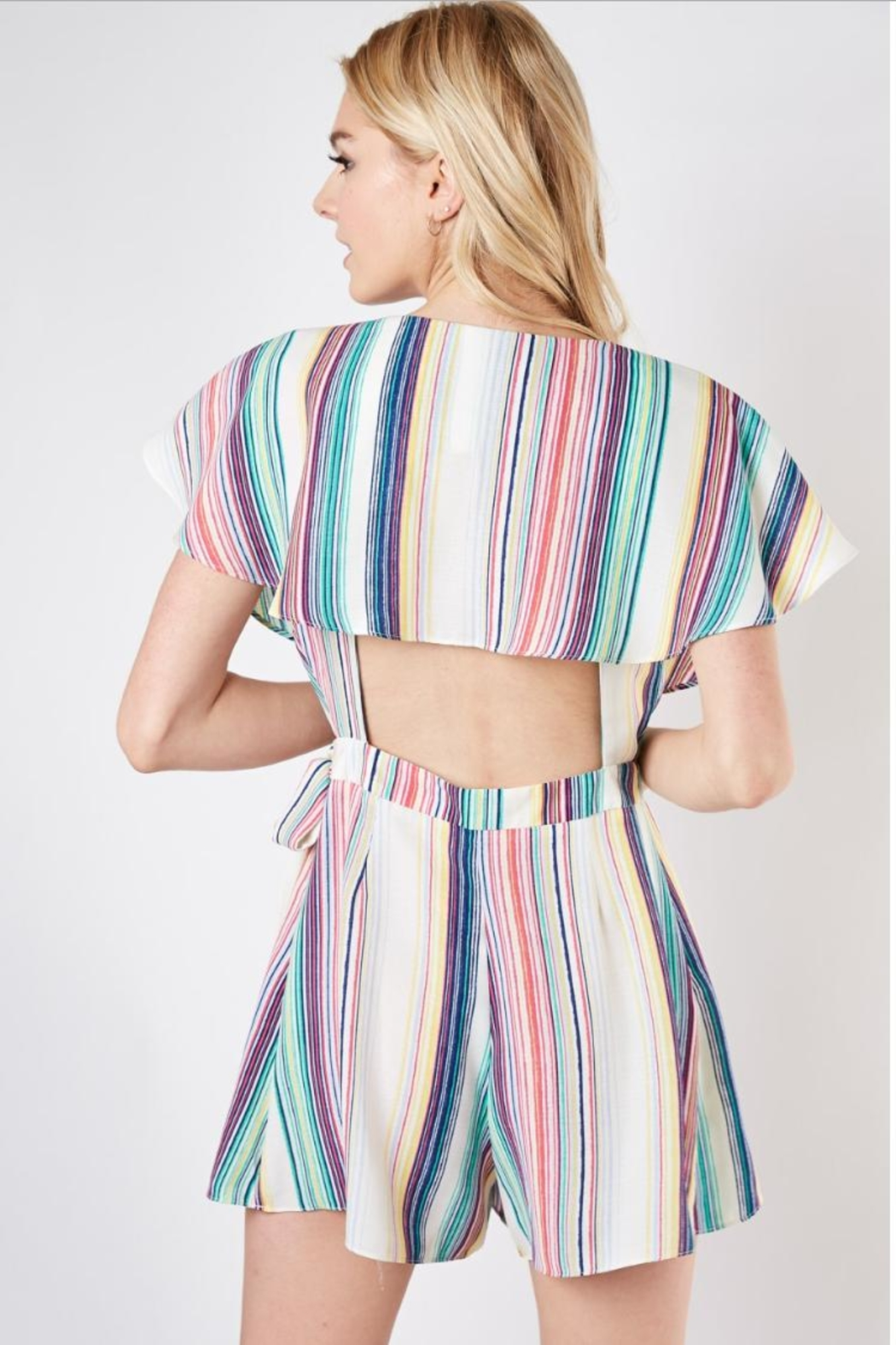 Do & Be Striped Wrap Romper - Side Cropped Image