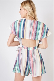 Do & Be Striped Wrap Romper - Side cropped