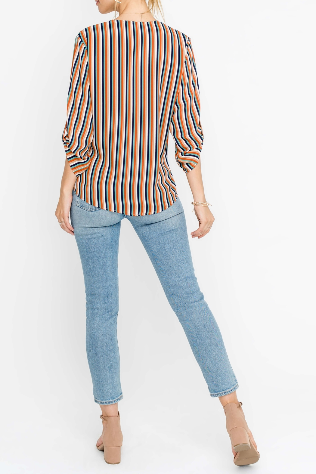 Lush Striped Wrap Style Top - Front Full Image
