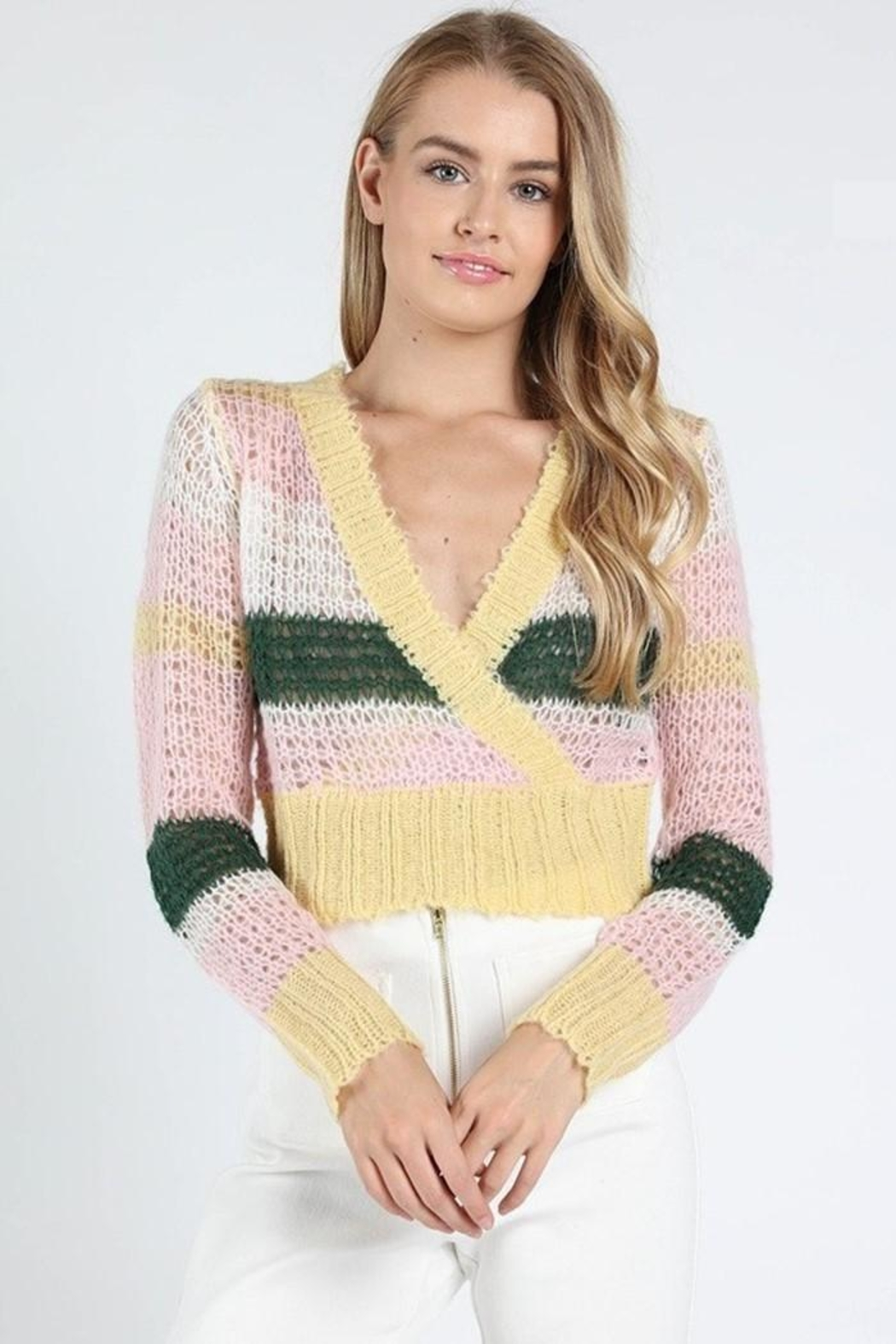Wild Honey Striped Wrap Sweater - Front Full Image