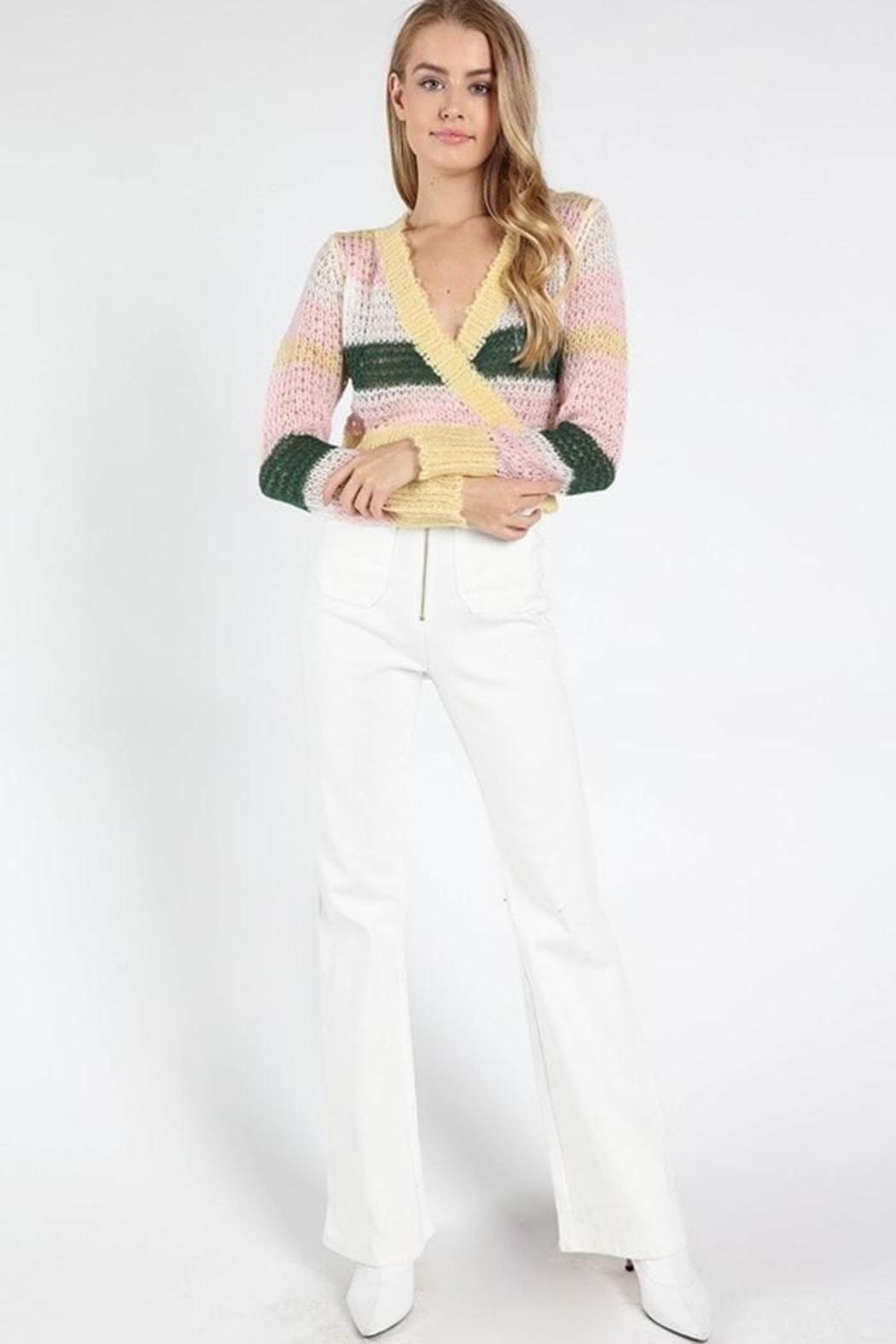Wild Honey Striped Wrap Sweater - Side Cropped Image