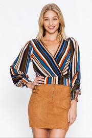 Flying Tomato Striped Wrap Top - Product Mini Image