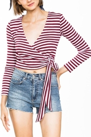 En Creme Striped Wrap Top - Product Mini Image