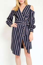 essue Stripedress With Coldshoulder - Product Mini Image