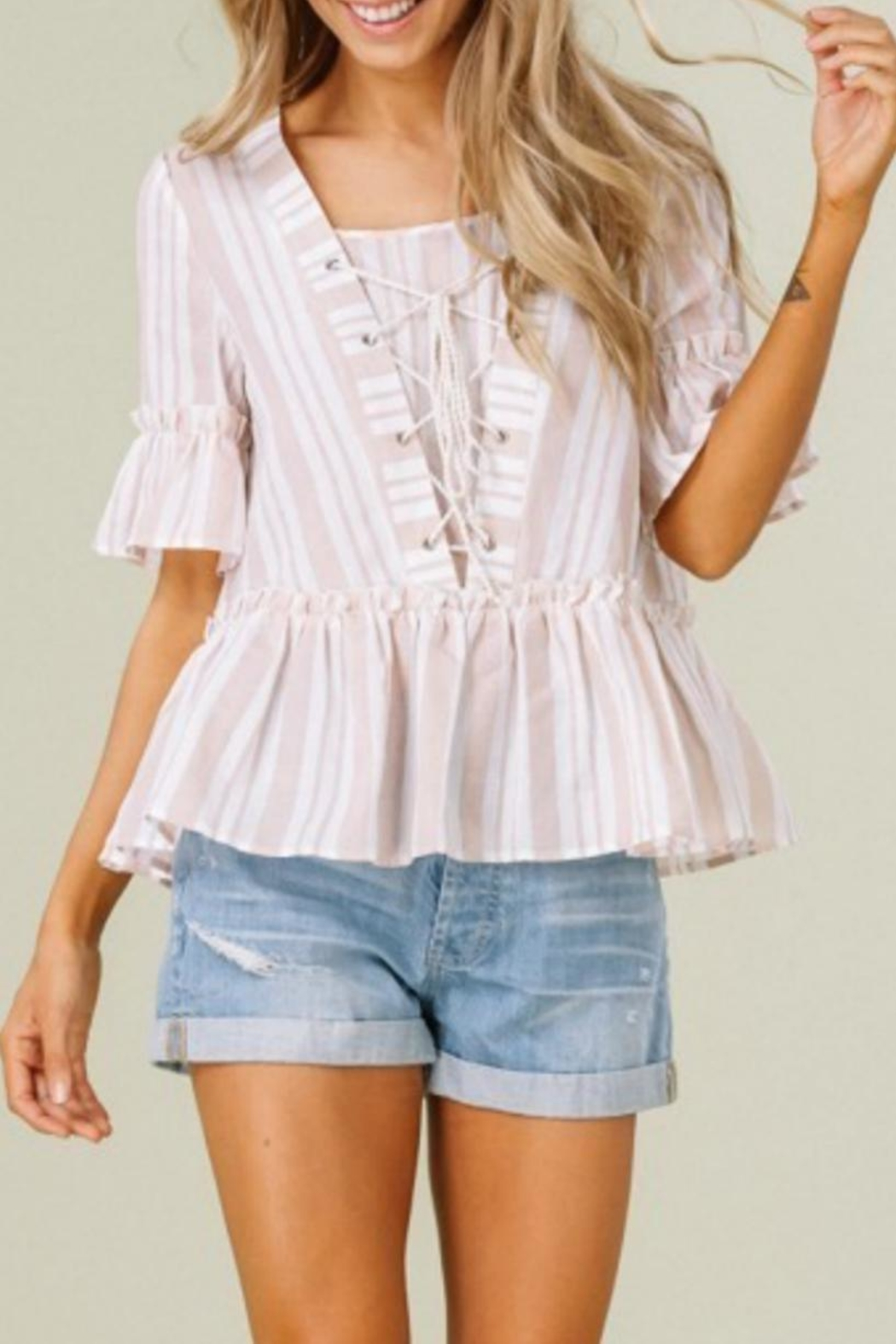 Listicle Stripes & Ruffles Top - Main Image