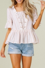 Listicle Stripes & Ruffles Top - Front cropped