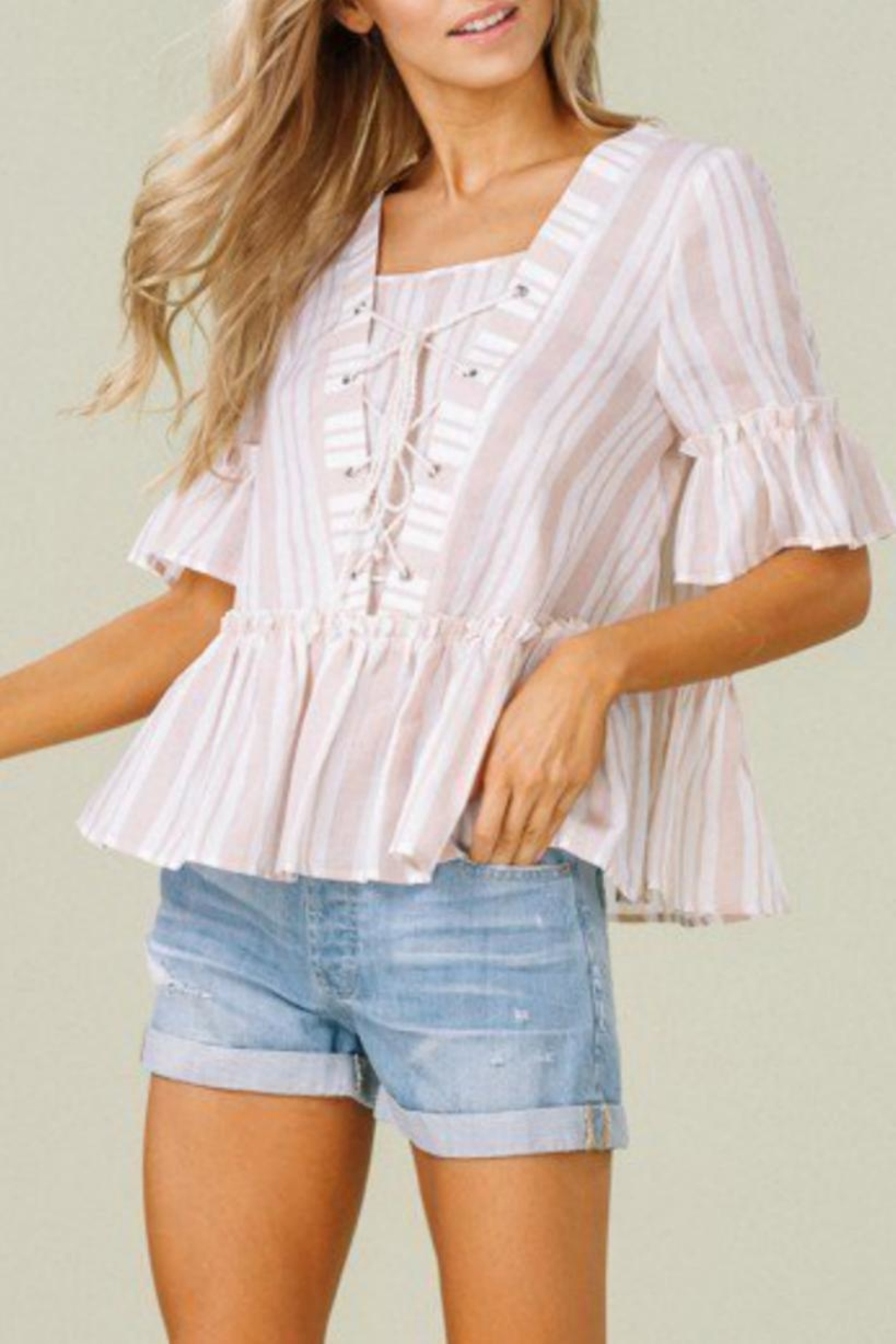 Listicle Stripes & Ruffles Top - Front Full Image