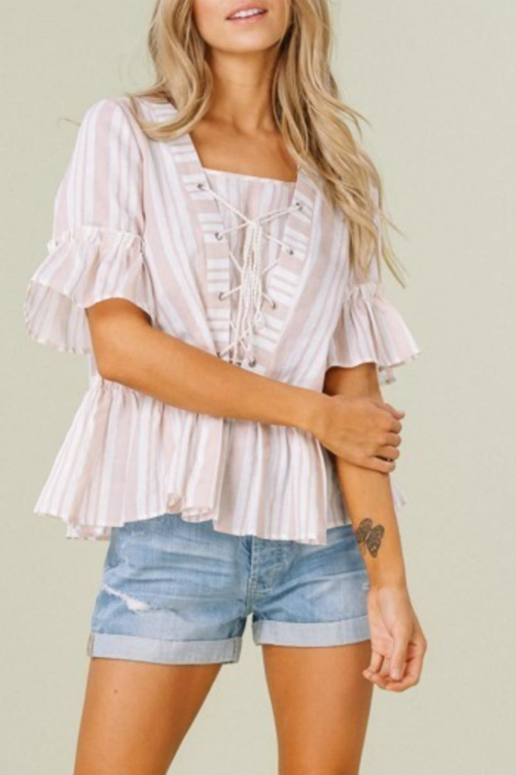 Listicle Stripes & Ruffles Top - Side Cropped Image