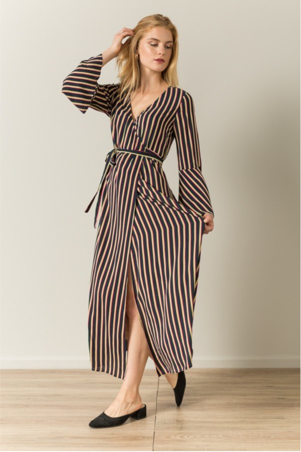 Hem & Thread Stripes Wrap Maxi Dress - Front Cropped Image