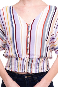 Lumiere Stripped Buttoned Blouse - Alternate List Image