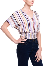Lumiere Stripped Buttoned Blouse - Front full body