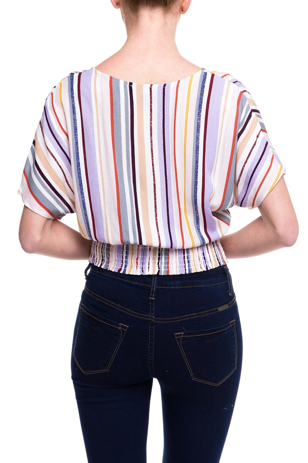 Lumiere Stripped Buttoned Blouse - Side Cropped Image