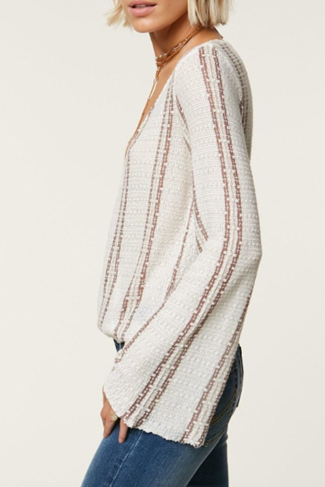 O'Neill Striped Deep-V Sweater - Front Full Image