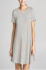 Cotton Bleu Stripped Everyday T-Dress - Front cropped