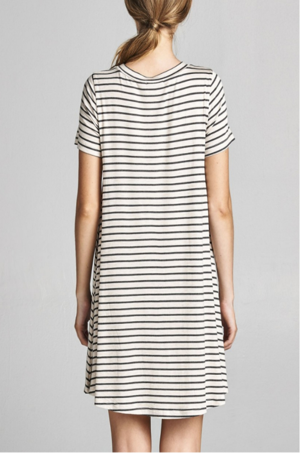 Cotton Bleu Stripped Everyday T-Dress - Front Full Image