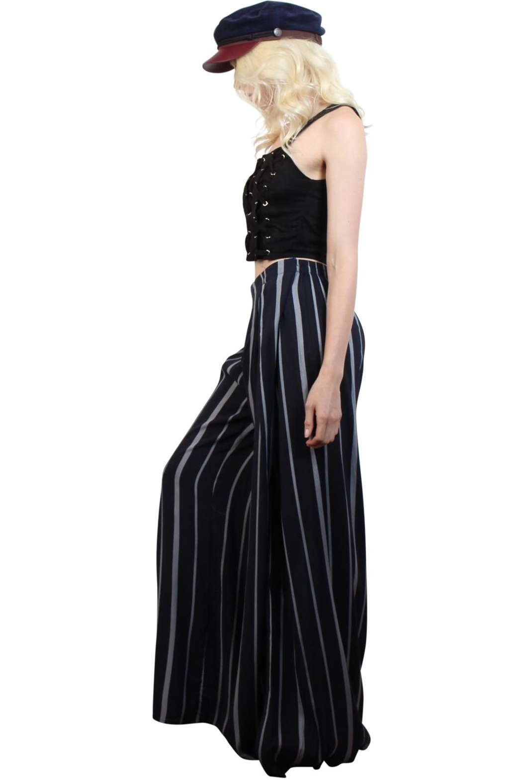 Rock Etiquette Stripped  Love Pants - Back Cropped Image