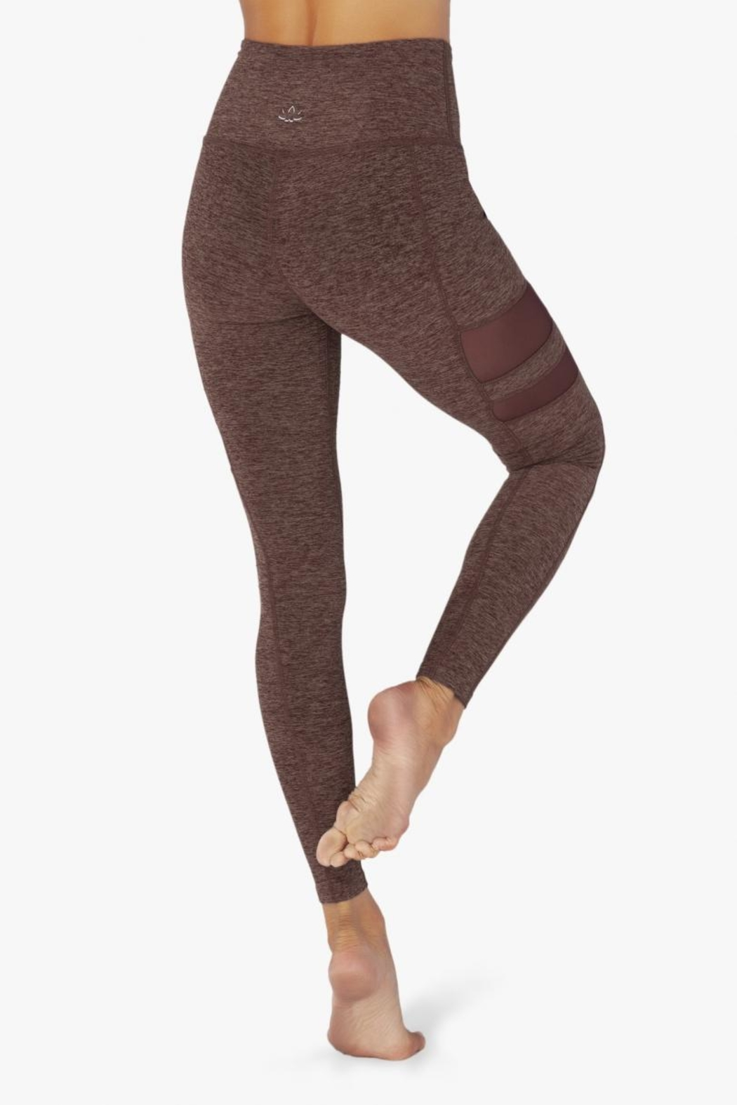 Beyond Yoga Stripped-Mesh High-Waisted Leggings - Side Cropped Image
