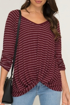 She + Sky Stripped Ribbed Knit-Top - Product List Image