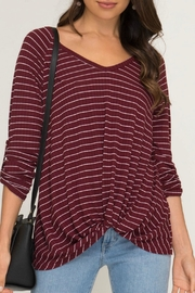 She + Sky Stripped Ribbed Knit-Top - Product Mini Image