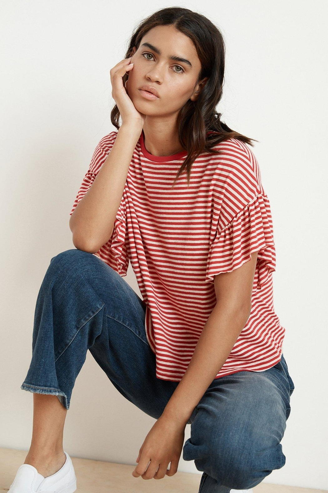 Velvet Stripped Tee - Front Cropped Image