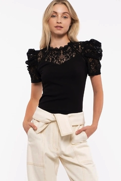 Mine Structured Puff Sleeve Top - Product List Image